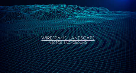 Abstract digital landscape with particles dots and stars on horizon. Wireframe landscape background. Big Data. 3d futuristic vector illustration. 80s Retro Sci-Fi Background Çizim