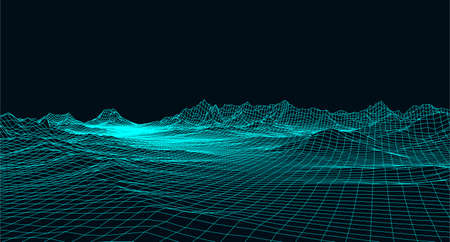 Abstract digital landscape with particles dots and stars on horizon. Wireframe landscape background. Big Data. 3d futuristic vector illustration. 80s Retro Sci-Fi Background Ilustración de vector