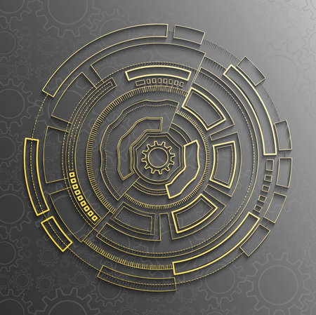 Gear wheel with circle. Futuristic mechanism design for business presentation. Draw line abstract. Vector technology Illustration with digital concept. Innovation tech background