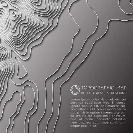 Map line of topography. Vector abstract topographic map concept with space for your copy. Mountain hiking. Map mockup infographics. Vector illustration Illustration