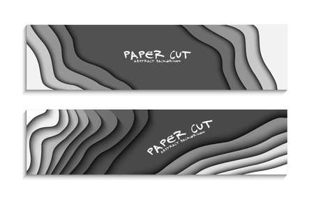 Set of black and white wave. 3D set of colorful abstract paper cut. Abstract colorful waves. Wavy banners. Color geometric form. Wave paper cut. Map line of topography. Map mockup infographics. Illustration