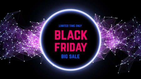 Black Friday sale abstract background. Futuristic technology style. Big data. Design with plexus. Vector illustration. Intelligence artificial Çizim