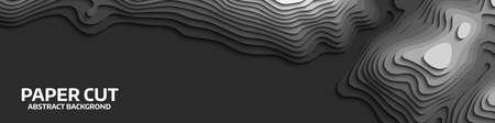 Black and white wave. Abstract paper cut. Abstract colorful waves. Wavy banners. Color geometric form. Wave paper cut. Map line of topography. Map mockup infographics. Vector illustration.