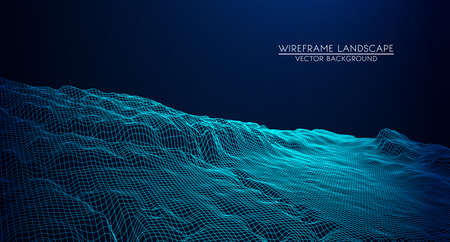 Abstract digital landscape with particles dots and stars on horizon. Wireframe landscape background. Big Data. 3d futuristic vector illustration. 80s Retro Sci-Fi Background Ilustração