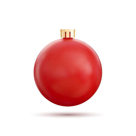 Red Christmas ball, isolated on white background. Vector illustration.