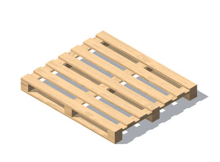 Isometric vector wooden pallet with shadow. Isolated on white background. Wood texture