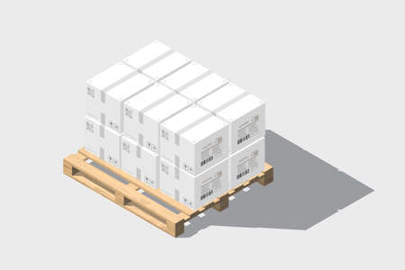 Isometric vector wooden pallet with boxes with shadow. Isolated on white background. Wood texture Ilustrace