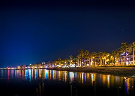 tropical beach panoramic: Turkey beach at night Stock Photo
