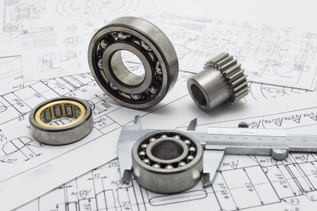 Mechanical scheme, caliper with bearing and small gear. Stockfoto