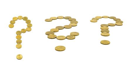 Question mark set, composed of 10 EURO cent coins. Isolated on white background with clipping path.