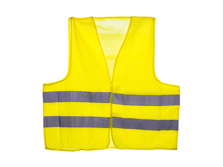 Yellow safety vest, isolated on a white background. Stock Photo