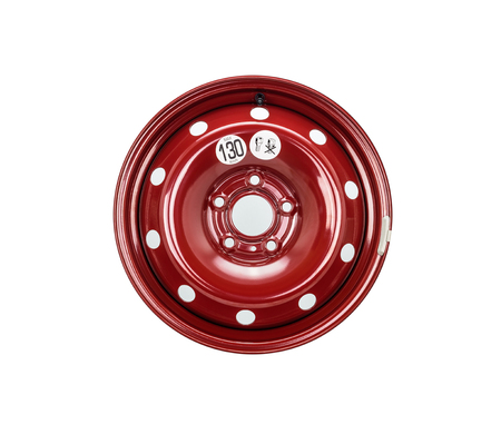 Steel wheel rim close up in red color. Isolated on a white background with a clipping path.