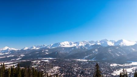 A beautiful view of the city of Zakopane. Sunny, beautiful day in the winter, snow-capped mountains. Visible trees and buildings. Фото со стока