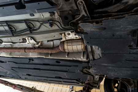 The exhaust system in the car. Stock Photo