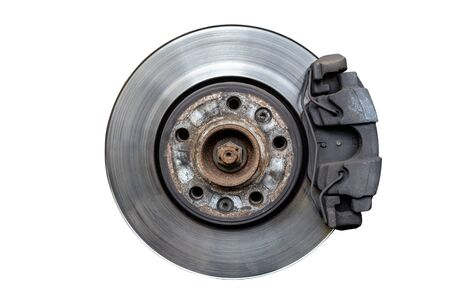 Front brake discs with brakes on a white background.