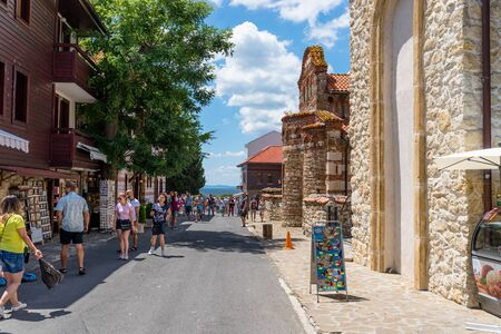 Nessebar, Bulgaria July 15, 2019. A crowd of people walking around the ancient and historic city of Nessebar in Bulgaria. Nessebar is an ancient city-museum, more than three millennia on the Bulgarian Black Sea Coast, located in Burgas Province.