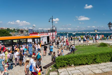 Nessebar, Bulgaria July 15, 2019. A crowd of people walking around the ancient and historic city of Nessebar in Bulgaria. Nessebar is an ancient city-museum, more than three millennia on the Bulgarian Black Sea Coast, located in Burgas Province. Public tr