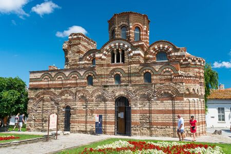 Nessebar, Bulgaria July 15, 2019.Historic buildings in the ancient city of Nessebar in Bulgaria.Nessebar is an ancient city-museum, more than three millennia. Orthodox church of Christ Pantocrator. Editorial