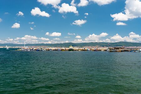 Nessebar, Bulgaria July 15, 2019. Sea port on the shores of the Black Sea in Nessebar in Bulgaria on a beautiful hot day.