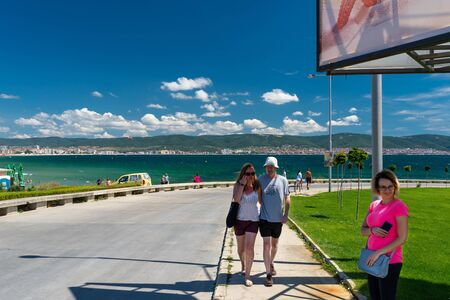 Nessebar, Bulgaria July 11, 2019. Road on the shores of the Black Sea leading from Sunny Beach to the historic city of Nessebar in Bulgaria.