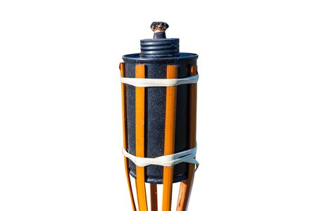Bamboo torch for insects with a metal tank and a wick, isolated on a white background with a clipping path.