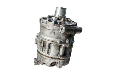 Old air conditioning compressor used in the car, isolated on a white background with a clipping path.