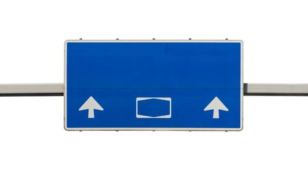 Big German road sign in blue, with arrows straight without inscriptions, isolated on a white background with a clipping path.