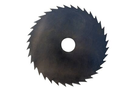 Wood cutting disc, 36 black teeth, isolated on a white background with a clipping path.