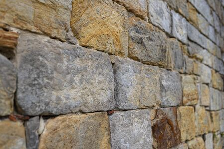 Background made of brick texture, slightly blurred background view from bevel. 版權商用圖片