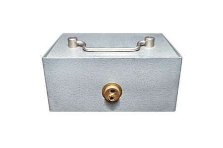 Closed, metal cash box with drilled lock, isolated on white background with a clipping path. Stockfoto