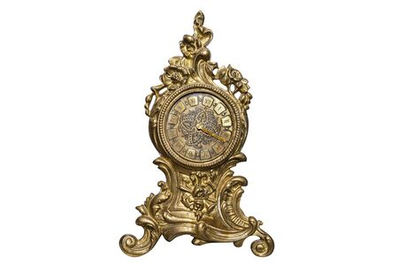 A large, standing clock made of brass with ornaments, isolated on a white background with a clipping path.