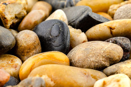 A macro shot of decorative colored pebbles, shallow depth of field, for use on a background.
