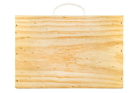 Rectangular shaped wooden suitcase with rope handle, isolated on white background.