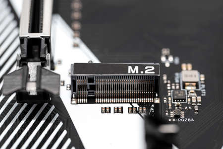 The macro shot of the M.2 connector for internally mounted computer expansion cards replaces the mSATA standard.