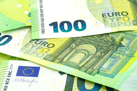 Background made from a macro shot of a European Union banknote of 100 EUR. 版權商用圖片