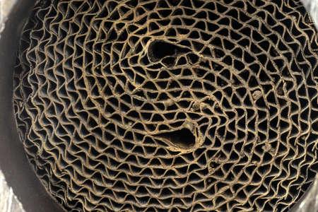 Macro shot of a metal strip catalyst made of heat-resistant chrome-nickel steel. 版權商用圖片