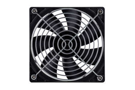 Large computer fan with silver grill, isolated on a white background