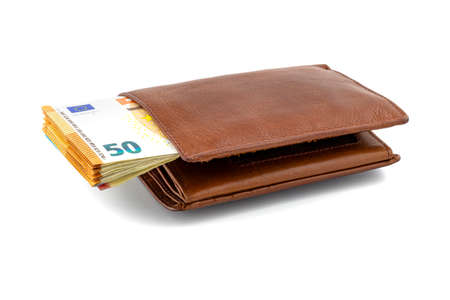 Mens brown leather wallet with a stack of Euro notes sticking out of the center, isolated on a white background, visible 50 Euro.