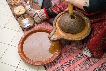 Processing argan seeds , Product of Morocco