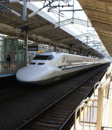 Japanese bullet train shinkansin in Kyoto railway station