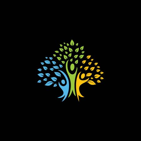 tree person health logo concept Illustration