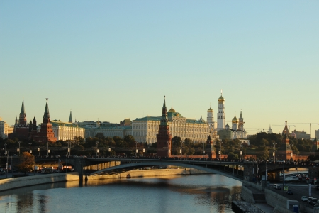 Landscape of the city of Moscow at sunrise - view of the Moscow Kremlin Stock Photo - 16013405