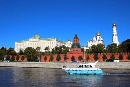 Boat floating on the river in the background of the Moscow Kremlin Stock Photo - 17152226