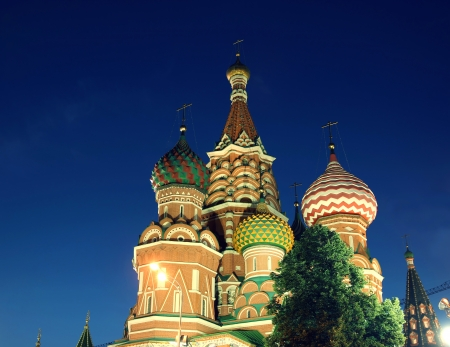 Cathedral of Basil Blessed in Moscow  at night against the clear sky photo