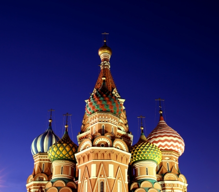 Cathedral of Basil Blessed in Moscow at night in the spotlight photo