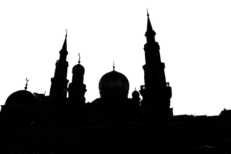 monumental: Illustration of a silhouette of the Moscow Cathedral Mosque Stock Photo