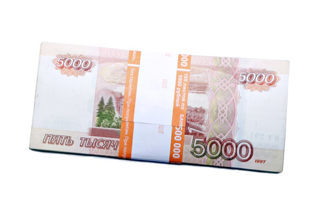 thousandth: A stack of five thousandth ruble banknotes in the banking package