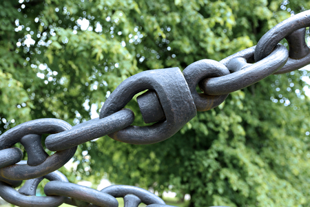 nexus: Chain of links of the old cast-iron in Suomenlinna Maritime Fortress  in Helsinki