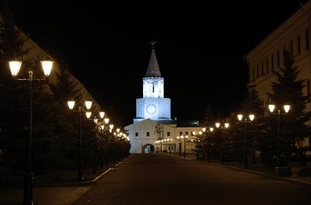 kazansky: The walls of the Kazan Kremlin at night