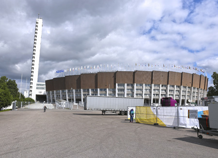 olympic stadium: HELSINKI, FINLAND - JULY 11, 2015: Olympic Stadium in Helsinki
